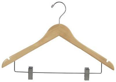 Cintre en bois crochet et pince 100/boite