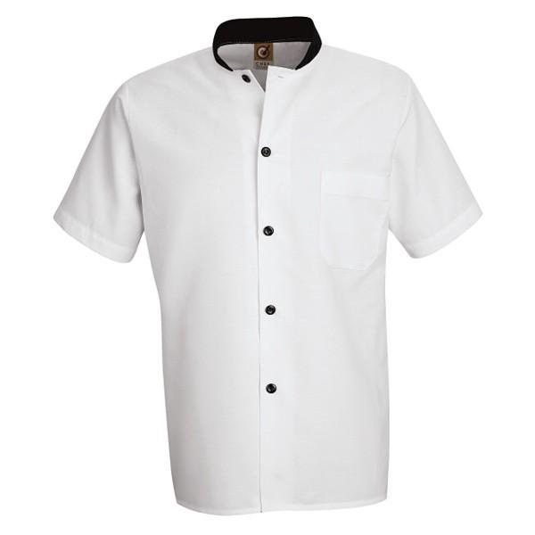 Chemise  blanche manche coute avec boutons et colet noir