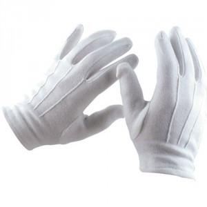 Gants blanc en coton 12/sac