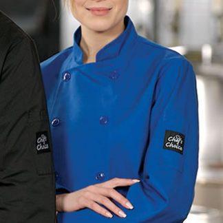 Veste de chef bleu royal manches longues