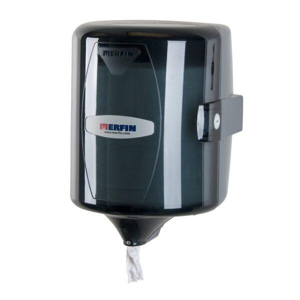 Distributeur d'essuie-mains à tirage central noir