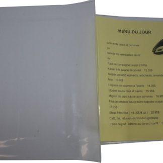 Insertion en vinyle pour menu du jour