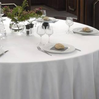 Nappe ronde blanche 132'' 100% polyester