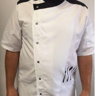 Veste de cuisinier Tuscany blanche et noire
