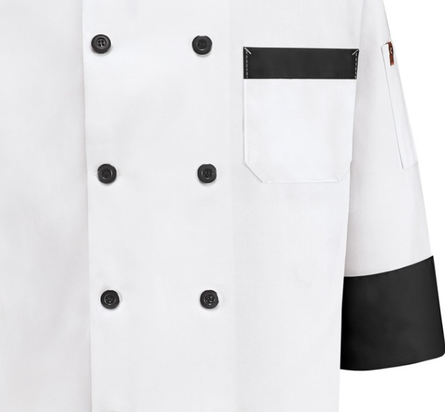 VESTON CHEF DETAIL EN NOIR   65% POLY/35%COTTON