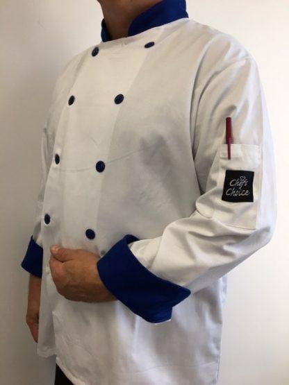 Veste de cuisinier blanche et bleue