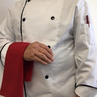 Veste de cuisinier blanc avec bordures noires