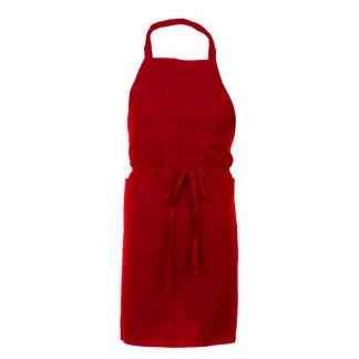Tablier rouge 3 poches 100 % polyester