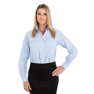 Chemise bleu pastel pour femme à manches longues