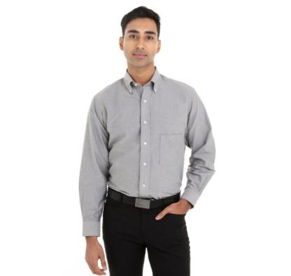 Chemise grise pour homme à manches longues