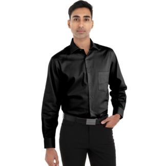Chemise noire pour homme à manches longues