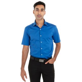 Chemise bleu royal pour homme à manches courtes